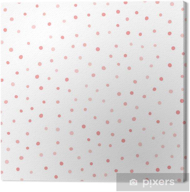 Tableau sur toile Pois irrégulier. répétant des cercles roses sur fond blanc. impression sans fin. dessiné à la main. - Ressources graphiques