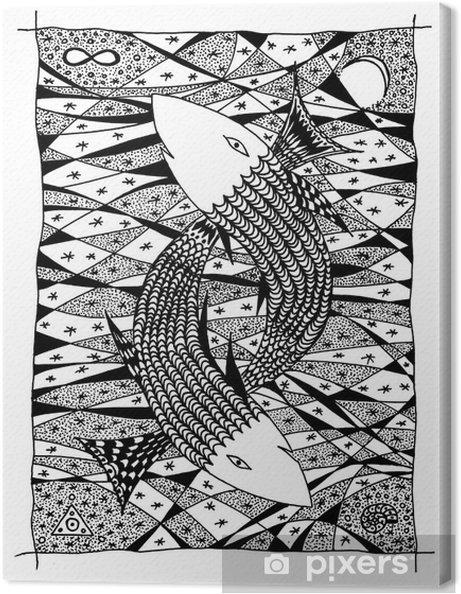 Tableau sur toile Poissons dans la mer. Dessin graphique - Animaux imaginaires