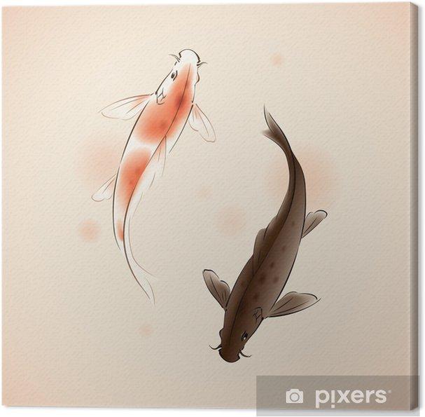 Tableau sur toile Poissons vecteur Yin Yang Koi dans la peinture de style oriental - Eau