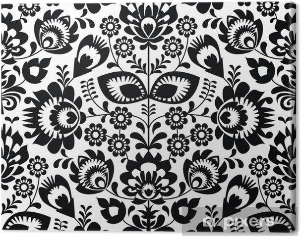 Tableau sur toile Polonais folklorique, seamless, en noir et blanc - Thèmes