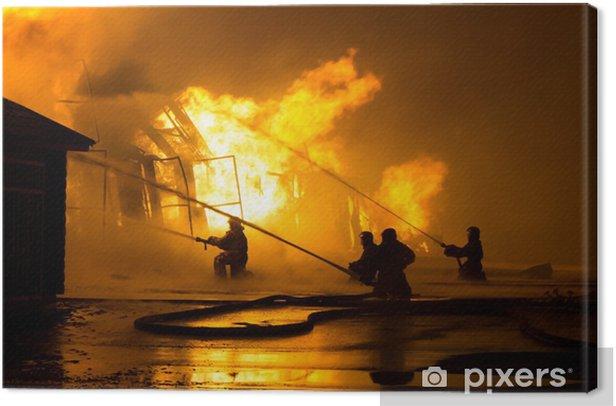 Tableau sur toile Pompiers au travail - Métiers