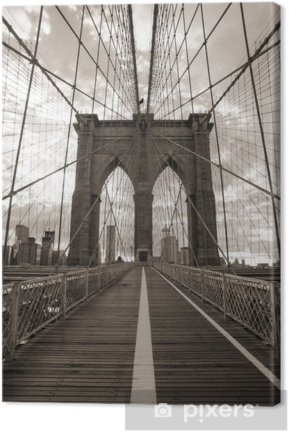 Tableau sur toile Pont de Brooklyn à New York. Ton sépia. -