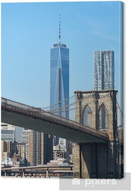 Tableau sur toile Pont de Brooklyn avec bas Manhattan - Villes américaines