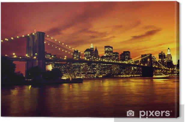Tableau sur toile Pont de Brooklyn et Manhattan au coucher du soleil, New York -