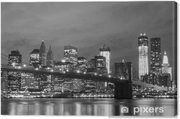 Tableau sur toile Pont de Brooklyn et Manhattan Skyline At Night, New York City -