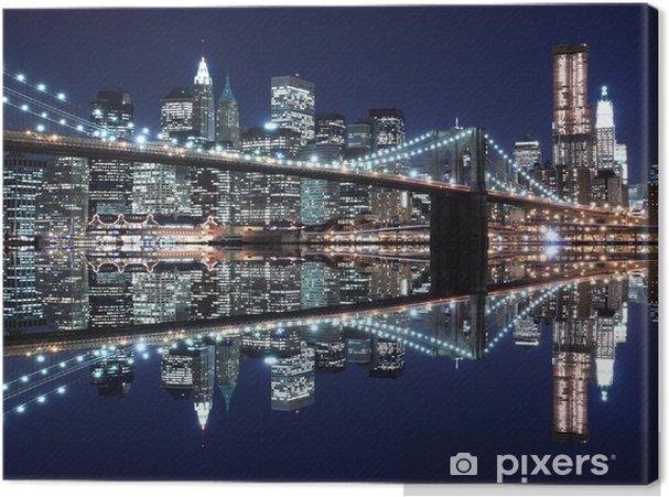 Tableau sur toile Pont de Brooklyn et Manhattan Skyline At Night, New York City - Thèmes