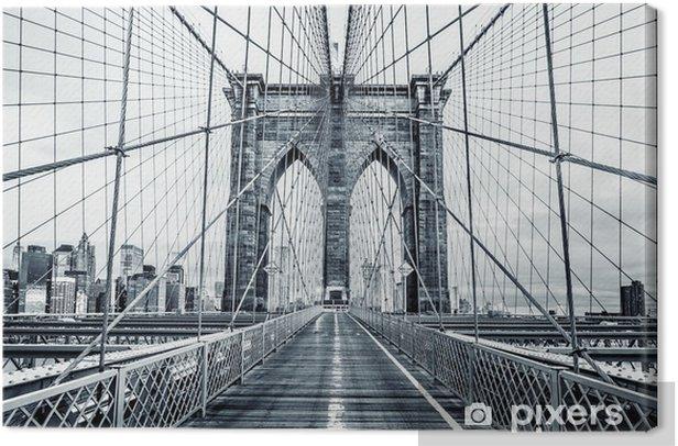 Tableau sur toile Pont de Brooklyn noir et blanc - Bâtiments et architecture