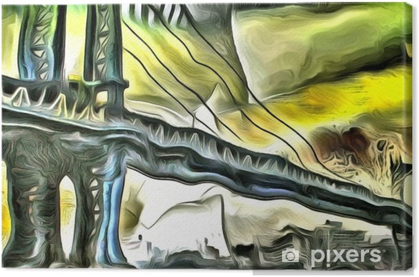 Tableau sur toile Pont de Manhattan - Bâtiments et architecture