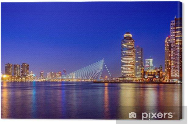 Tableau sur toile Pont Erasmus au crépuscule, Rotterdam, Pays-Bas - Thèmes