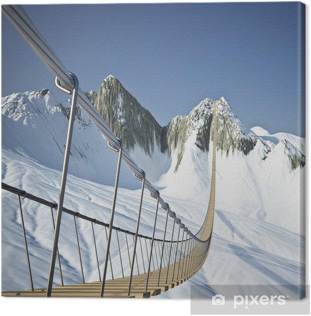 Tableau sur toile Pont suspendu dans les montagnes - Autres sentiments