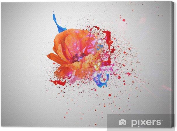 Tableau sur toile Poppy et couleurs fantaisie - Fleurs