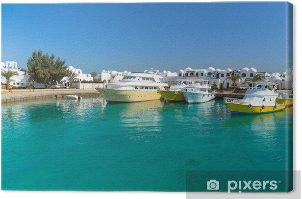 Tableau sur toile Port de bateaux à Hurghada, Egypte - Afrique