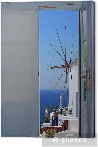 Tableau sur toile Porte du balcon avec une vue magnifique sur l'île de Santorin, en Grèce - Thèmes