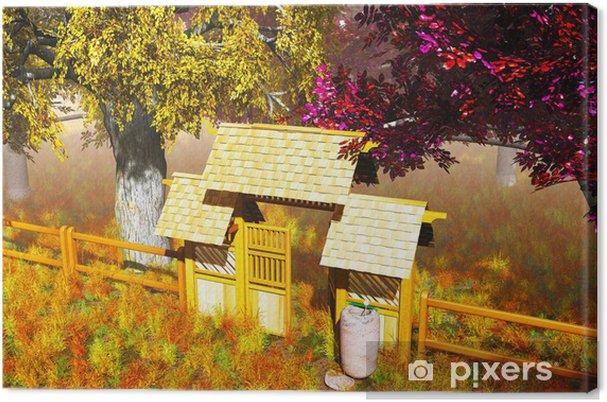 Tableau sur toile Porte en bois traditionnel dans le jardin japonais de  rendu 3D