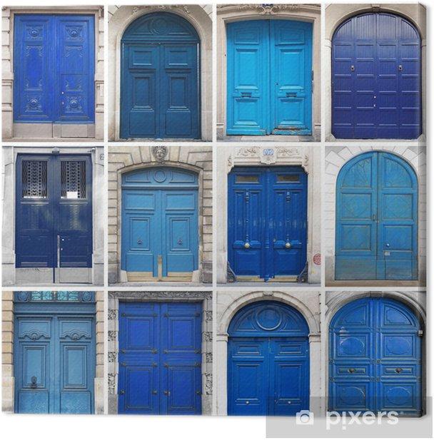 Tableau sur toile Portes bleu collage - Industrie lourde