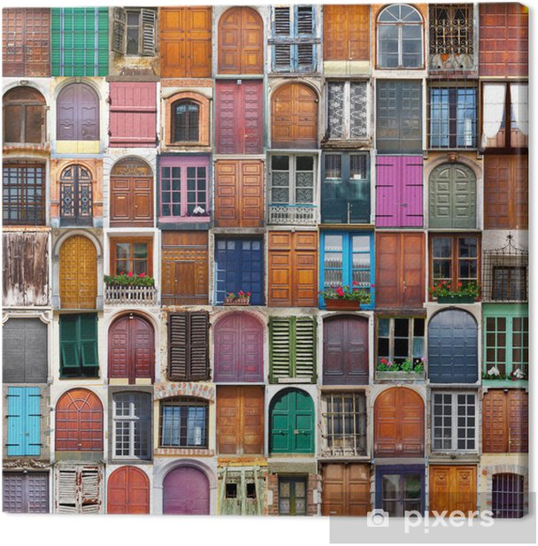 Tableau sur toile Portes et fenêtres collage - Destin