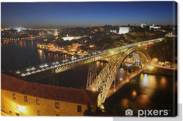 Tableau sur toile Porto vieille ville vue de nuit, Porto, Portugal - Europe