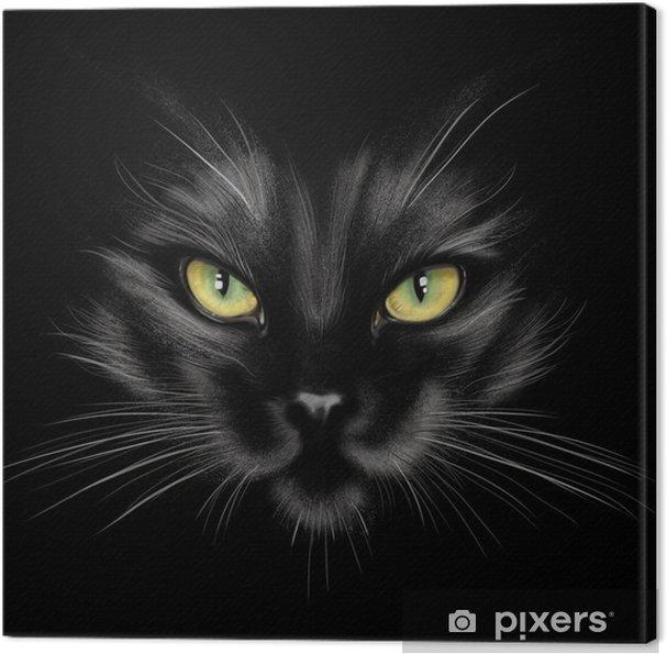 Tableau chat noir 3 tableaux sur toile portrait a la main d 39 un chat noir