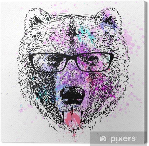 Tableau sur toile Portrait coloré de caractère ours - Style de vie