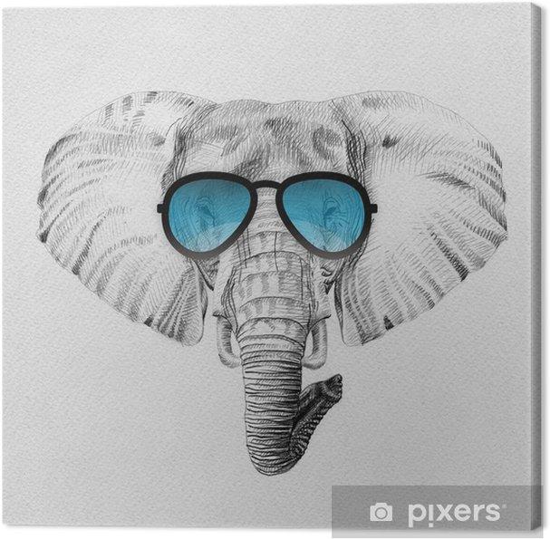 Nouvelles Arrivées mignonne ramasser Tableau sur toile Portrait d'éléphant dessiné à la main au crayon dans des  lunettes de soleil