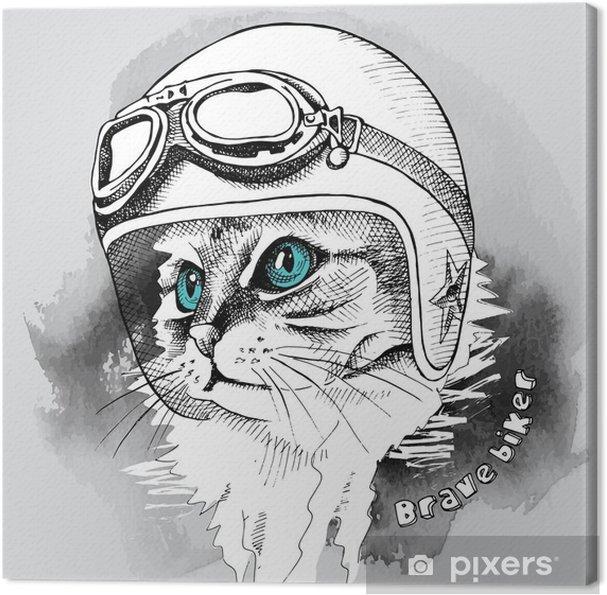 Tableau Sur Toile Portrait De Chat Image Dans Le Casque De Moto