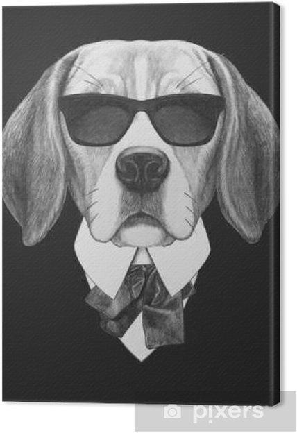 Tableau sur toile Portrait de chien Beagle en costume. Hand drawn illustration. - Animaux
