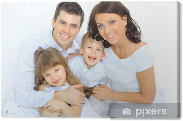 Tableau sur toile Portrait de famille heureuse souriant à la caméra - Vie de famille