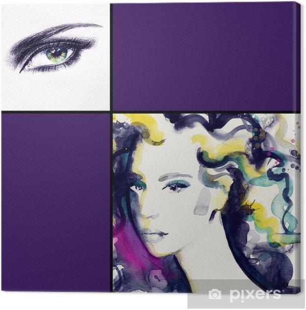 Tableau sur toile Portrait de femme. aquarelle abstraite. mode arrière-plan - Femmes