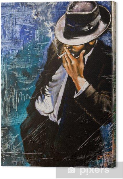 Tableau sur toile Portrait de l'homme avec une cigarette - Styles