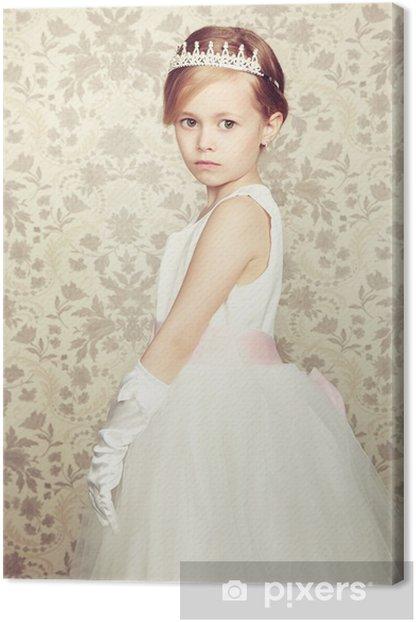 Tableau sur toile Portrait de petite fille en robe de luxe - Enfants