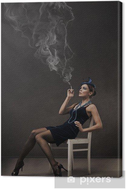 Tableau sur toile Portrait de style rétro Vogue - 30s dame - Femmes