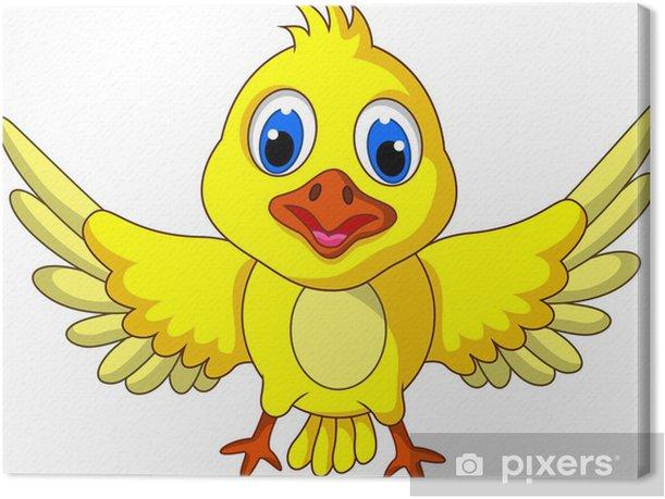 Tableau sur toile Pose de bande dessinée d'oiseau jaune mignon - Oiseaux