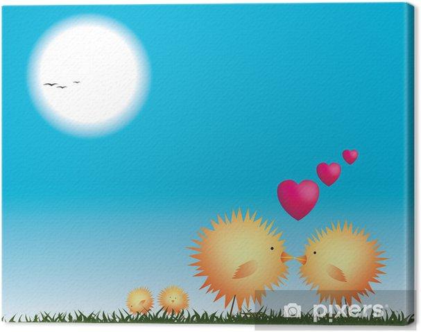 Tableau sur toile Poulets embrassant sur un nid, valentines - Oiseaux