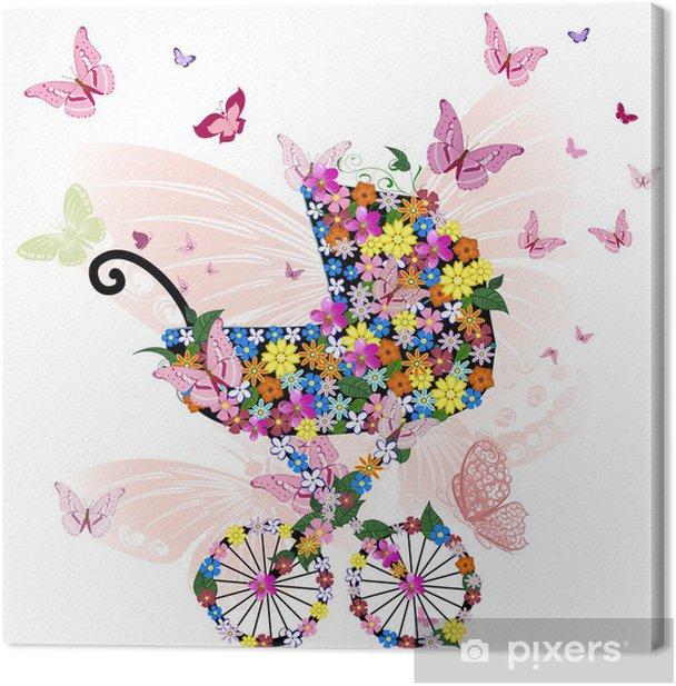 Tableau sur toile Poussette de fleurs et de papillons - Fleurs