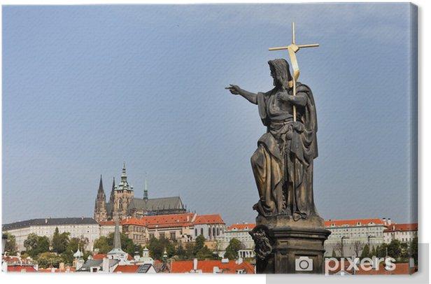 Tableau sur toile Prague, le pont Charles à Prague et Hradcany Château -