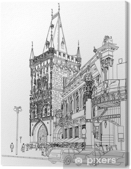 Tableau sur toile Prague - Tour Poudrière et la Maison Municipale. Vecteur architectural dr - Prague