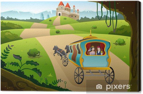 Tableau sur toile Prince et princesse équitation un wagon - Destin