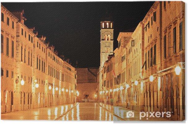 Tableau sur toile Principale rue piétonne à Dubrovnik la nuit, Croatie - Europe