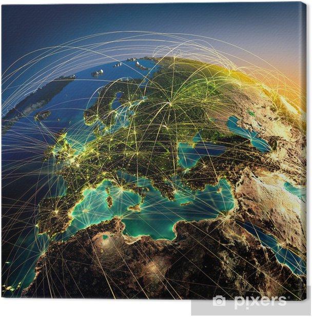 Tableau sur toile Principales liaisons aériennes en Europe - iStaging