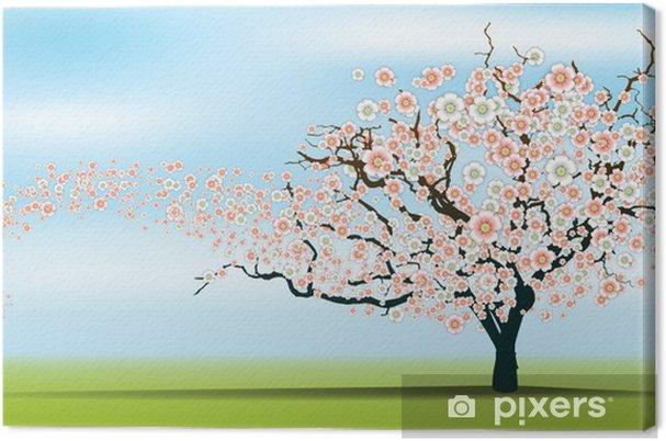 Tableau Sur Toile Printemps Vent Dechire Arbre De Fleurs De Cerisier