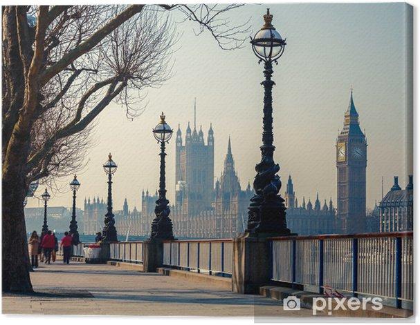 Tableau sur toile Promenade à Londres avec vue sur Big Ben et les Chambres du Parlement - Thèmes