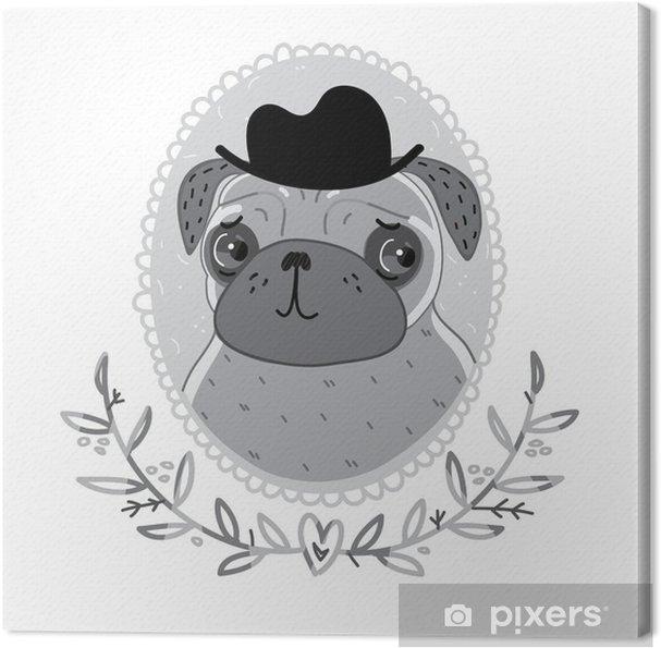 Tableau sur toile Pug du cinéma en noir et blanc - Mammifères