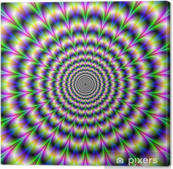 Tableau sur toile Pulse psychédélique dans le pourpre et le vert -