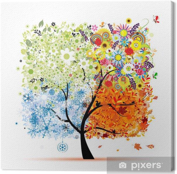 Tableau sur toile Quatre saisons - printemps, été, automne, hiver. Art tree - Sticker mural