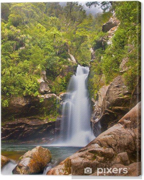 Tableau sur toile Rainforest cascade Nouvelle-Zélande - Merveilles naturelles