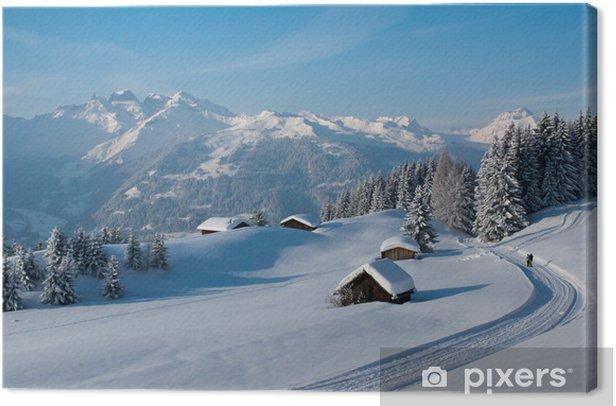 Tableau sur toile Randonnée hivernale dans les Alpes - Hiver