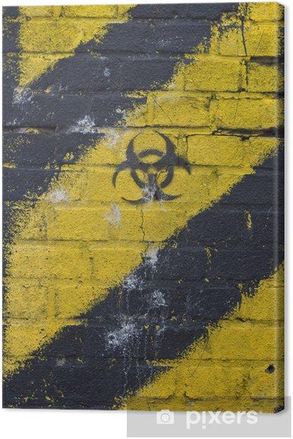 Tableau sur toile Rayonnement panneau d'avertissement jaune mur radioactifs fond - Thèmes