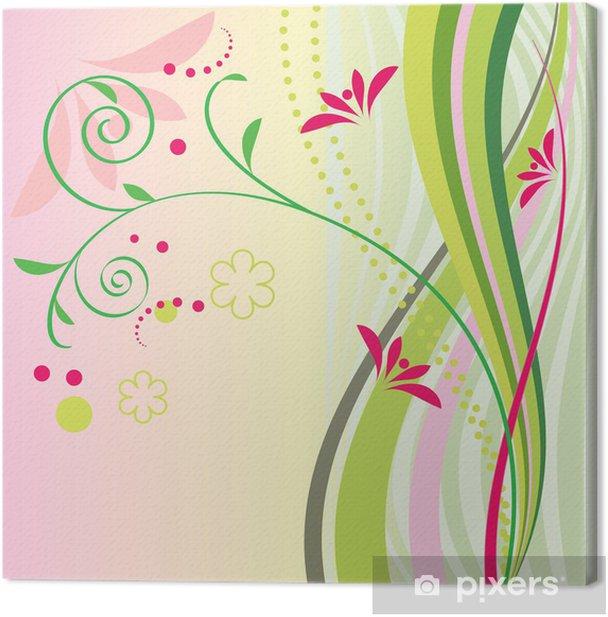 Tableau sur toile Rayures vertes et de belles fleurs - Fleurs