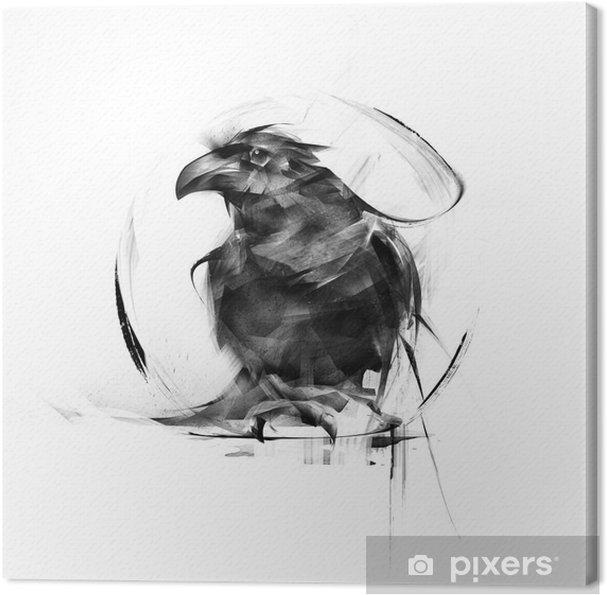Tableau sur toile Réaliste corbeau noir sur un fond blanc - Animaux