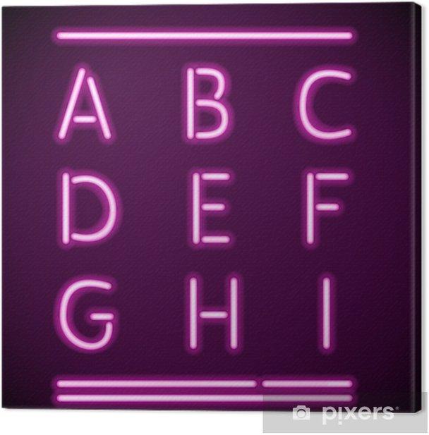 Tableau sur toile Réaliste néon Alphabet, AI - Thèmes